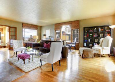 Large gold antique living room interior.