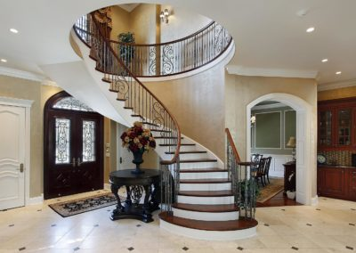Foyer with spiral staircase